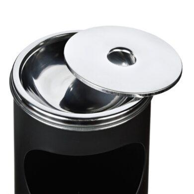 Venkovní popelník - odpadkový koš kulatý, černý matný, 58cm