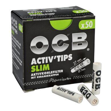 Cigaretové filtry OCB Activ Tips Slim 7mm, charcoal