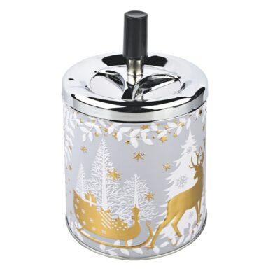 Cigaretový popelník kovový otočný Christmas, zlatý(22528)