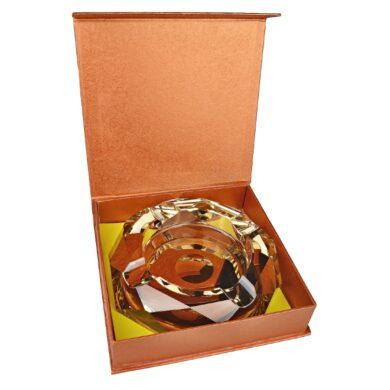 Doutníkový popelník křišťál Octagon zlatý 17,5cm, 4D