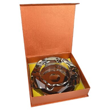 Doutníkový popelník křišťál Octagon černý 17,5cm, 4D