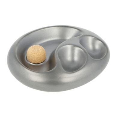 Dýmkový popelník keramický na 2 dýmky, stříbrný