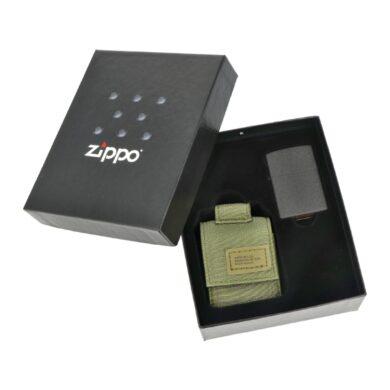 Dárková sada Zippo Black Crackle + Green Pouch(Z 259113)