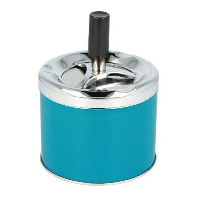 Cigaretový popelník kovový otočný 9cm, blue