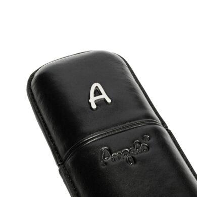 Pouzdro na 2 doutníky Etue Angelo, černé, koženka, 180mm