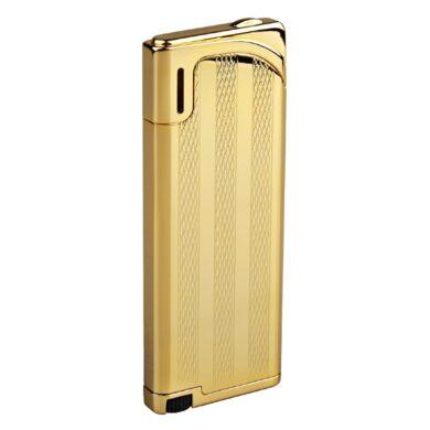 Zapalovač Hadson Slim, zlatý, proužky(10518)