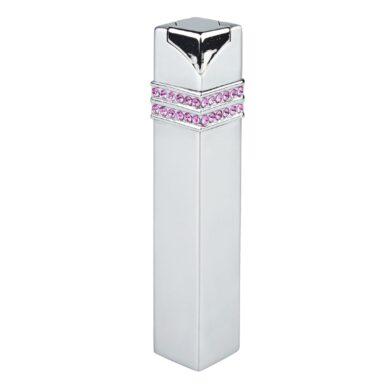 Dámský zapalovač Hadson Square, stříbrný, růžové kamínky Swarovski