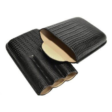 Pouzdro na 3 doutníky Etue s ořezávačem, černé, 145mm