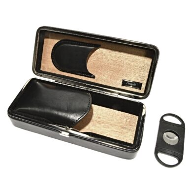 Pouzdro na 2 doutníky Etue s ořezávačem, černé, cedr, 190mm(814000)