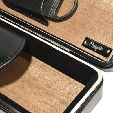 Pouzdro na 2 doutníky Etue s ořezávačem, černé, cedr, 190mm