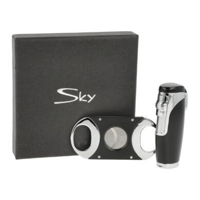 Sada pro kuřáky doutníků Sky, zapalovač, vyštípávač, černostříbrná