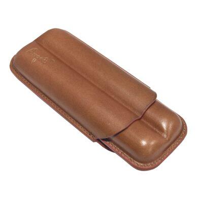 Pouzdro na 2 doutníky Etue, hnědé, kožené, 160mm, dárkové balení