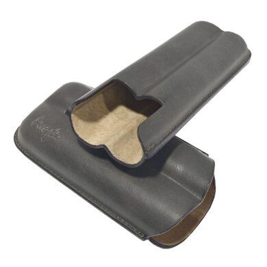 Pouzdro na 2 doutníky Etue, šedé, kožené, 160mm, dárkové balení