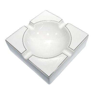 Doutníkový popelník keramický, bílostříbrný