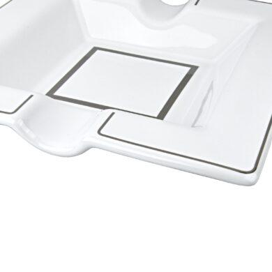 Doutníkový popelník keramický bílý, 2D