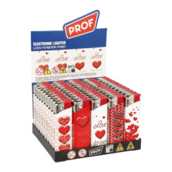 Zapalovač PROF Piezo Love-Plynový zapalovač s valentýnskou tématikou. Zapalovač je plnitelný. Výška zapalovače 8cm. Prodej pouze po celém balení (displej) 50 ks.