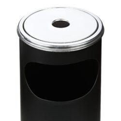 Venkovní popelník - odpadkový koš kulatý, černý matný, 58cm(22608)
