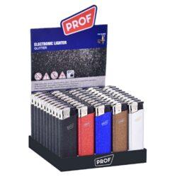 Zapalovač Prof Piezo Glitter-Plynový zapalovač s třpytivým efektem. Zapalovač není plnitelný a je vybavený fixní intenzitou plamene. Prodej pouze po celém balení (displej) 50 ks. Výška zapalovače 8 cm.