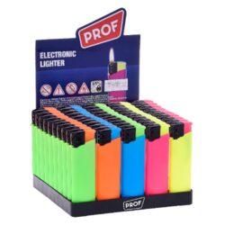 Zapalovač Prof Piezo Color Rubber-Plynový zapalovač. Zapalovač je plnitelný. Prodej pouze po celém balení (displej) 50 ks. Výška zapalovače 8cm.