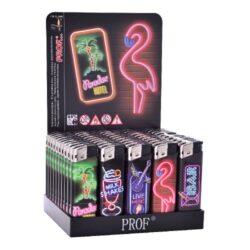 Zapalovač Prof Piezo Neons-Plynový zapalovač není plnitelný a je vybavený fixní intenzitou plamene. Prodej pouze po celém balení (displej) 50 ks. Výška zapalovače 8 cm.