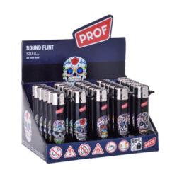 Zapalovač Prof Flint Round Skull-Plynový kamínkový zapalovač. Zapalovač není plnitelný. Prodej pouze po celém balení (displej) 25 ks. Výška zapalovače 7cm.