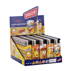 Zapalovač PROF Turbo Beer-Žhavící zapalovač Prof. Zapalovač je plnitelný. Prodej pouze po celém balení (displej) 50 ks. Výška zapalovače 8cm.