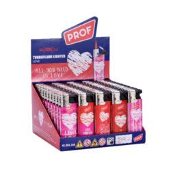 Zapalovač PROF Turbo Heart-Žhavící zapalovač s valentýnskou tématikou. Zapalovač je plnitelný. Prodej pouze po celém balení (displej) 50 ks. Výška zapalovače 8cm.