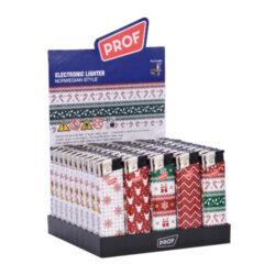 Zapalovač Prof Piezo Norwegian Style-Plynový zapalovač Prof s vánoční tématikou. Zapalovač není plnitelný a je vybavený fixní intenzitou plamene. Prodej pouze po celém balení (displej) 50 ks. Výška zapalovače 8 cm.