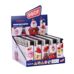 Zapalovač PROF Turbo Santa-Žhavící zapalovač Prof s vánoční tématikou. Zapalovač je plnitelný. Prodej pouze po celém balení (displej) 50 ks. Výška zapalovače 8cm.