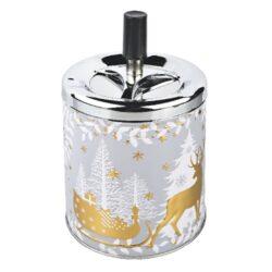 Cigaretový popelník kovový otočný Christmas, zlatý-Vánoční cigaretový popelník otočný Christmas. Větší samozhášecí venkovní popelník na cigarety s vánočním motivem v šedozlatém kovovém provedení. Průměr popelníku 9,5 cm, celková výška 16 cm.