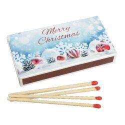 Zápalky Christmas dlouhé 9,5cm, 50ks-Dlouhé zápalky pro domácnost s vánočním motivem na krabičce. Zápalky jsou vhodné na zapalování svíček, krbů a grilů. Krabička 50 ks zápalek. Délka 9,5 cm.