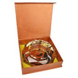 Doutníkový popelník křišťál Octagon zlatý 17,5cm, 4D(38002)