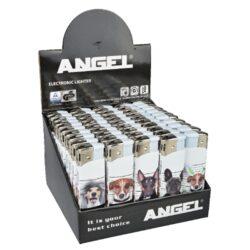 Zapalovač Angel Piezo Dogs-Plynový zapalovač Angel. Zapalovač je plnitelný. Prodej pouze po celém balení (displej) 50 ks. Výška zapalovače 8 cm.