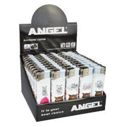 Zapalovač Angel Piezo Cats-Plynový zapalovač Angel. Zapalovač je plnitelný. Prodej pouze po celém balení (displej) 50 ks. Výška zapalovače 8 cm.