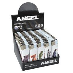 Zapalovač Angel Piezo Animals II-Plynový zapalovač Angel. Zapalovač je plnitelný. Prodej pouze po celém balení (displej) 50 ks. Výška zapalovače 8 cm.