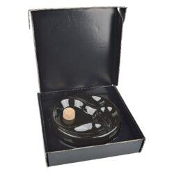 Dýmkový popelník na 3 dýmky keramický černý kulatý(413000)