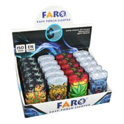 Tryskový zapalovač FARO Blue Flame Mix-Tryskový zapalovač Faro Blue Flame Mix. Plnitelný zapalovač s nastavením intenzity plamene. Prodej pouze po celém balení (displej) 20 ks. Výška zapalovače 7,1cm.