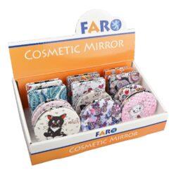 Kapesní zrcátko Faro 12mix-Kapesní zrcátko Faro. Dámské kosmetické zrcátko s koženkovým pestrým povrchem a kamínky v chromovém provedení nabízíme v hranatém nebo kulatém tvaru. Zrcátko má dvě odrazové plochy a praktické zavíraní na magnet. Rozměry: kulaté - 7x1,1, hranaté - 6,2x8,5x1,1cm. Prodej pouze po celém balení (displej) 12 ks.