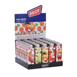 Zapalovač PROF Flint Funny Fruits-Plynový zapalovač Prof. Zapalovač není plnitelný a je vybavený fixním plamenem. Prodej pouze po celém balení (displej) 50 ks. Výška zapalovače 8 cm.