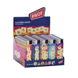 Zapalovač PROF Piezo Crossword-Plynový zapalovač Prof. Zapalovač není plnitelný a je vybavený fixním plamenem. Prodej pouze po celém balení (displej) 50 ks. Výška zapalovače 8 cm.