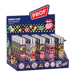 Zapalovač PROF Flint Round Popsmack-Plynový kamínkový zapalovač. Zapalovač není plnitelný. Prodej pouze po celém balení (displej) 25 ks. Výška zapalovače 7cm.