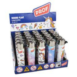 Zapalovač PROF Flint Round Unicorn-Plynový kamínkový zapalovač. Zapalovač není plnitelný. Prodej pouze po celém balení (displej) 25 ks. Výška zapalovače 7cm.