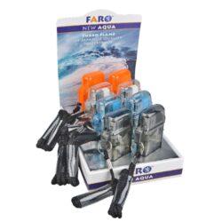 Žhavící zapalovač FARO Turbo Aqua Waterproof-Žhavící zapalovač FARO Turbo Aqua Waterproof. Transparentní turbo zapalovač v plastovém voděodolném pouzdře je vybavený praktickým poutkem pro zavěšení. Po stisknutí pojistky na pravé straně se horní kryt odklopí a stlačením tlačítka dojde k zapálení žhavící spirály, která vytvoří plamen. Vhodný zapalovač do větrného počasí, kdy plamen není větrem zfouknut. Ve spodní části zapalovače najdeme plnící ventil plynu a nastavení intenzity plamene. Výška 6,7 cm. Cena je uvedena za 1 ks. Před odesláním objednávky uveďte číslo barevného provedení do poznámky.