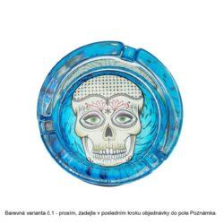 Cigaretový popelník skleněný LED Skull 8,5cm(590551)