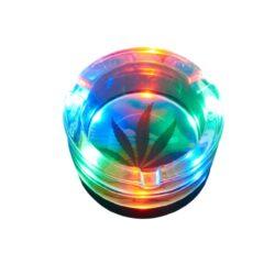 Cigaretový popelník skleněný LED Leaves 8,5cm(590552)