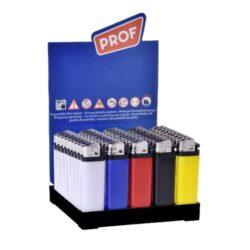 Zapalovač PROF Flint Colors-Plynový kamínkový zapalovač PROF Flint Colors. Zapalovač nejde opět naplnit. Výška zapalovače 8cm. Prodej pouze po celém balení (displej) 50 ks.