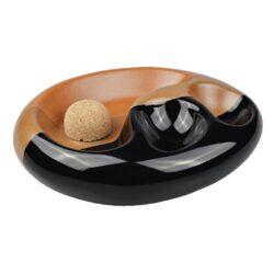 Dýmkový popelník na 2 dýmky keramický černohnědý(520112)
