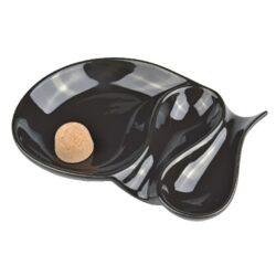 Dýmkový popelník na 2 dýmky keramický černý ovál(520745)