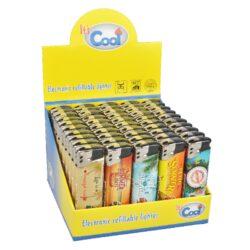 Zapalovač Cool Piezo Summer-Plynový zapalovač Cool Piezo Summer. Plnitelný zapalovač je vybavený nastavením intenzity plamene. Prodej pouze po celém balení (displej) 50 ks. Výška zapalovače 8 cm.