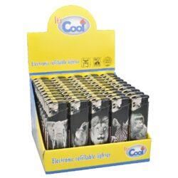 Zapalovač Cool Piezo Wild Animals-Plynový zapalovač Cool Piezo Animals. Plnitelný zapalovač je vybavený nastavením intenzity plamene. Prodej pouze po celém balení (displej) 50 ks. Výška zapalovače 8 cm.